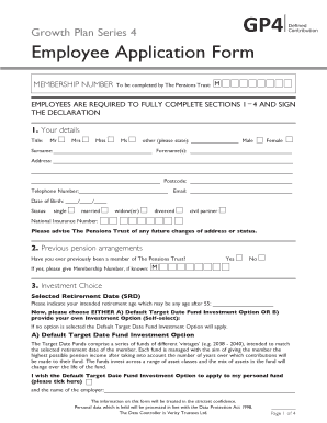 fillable online tpt org employee application form gp4 scheme the