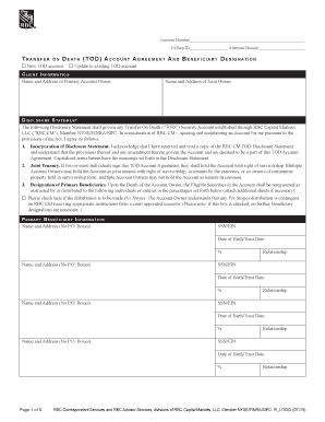 Transfer On Death Tod Account Agreement And Beneficiary Designation Fill Online Printable