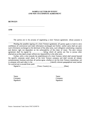 Sample letter of intent and not-to-compete agreement between