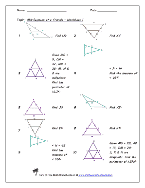 Mid-Segment of a Triangle Worksheet Five Pack - Math Worksheets bb