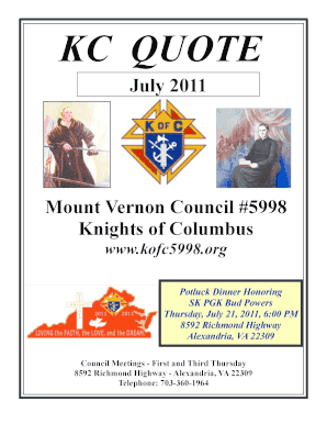 July 2011 Mount Vernon Council #5998 Knights of Columbus - kofc5998