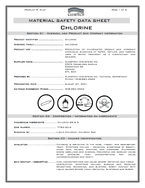 Fillable Online Product Cl2 Page 1 Of 6 Material Safety