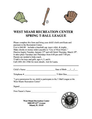 West miami recreation center spring t-ball league - City of West Miami