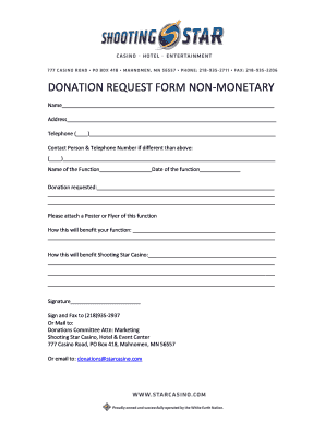 Fillable Online DONATION REQUEST FORM NON-MONETARY - Shooting Star