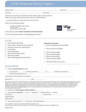 UCSF Employee Giving Program Employee Name Employee ID UCSF
