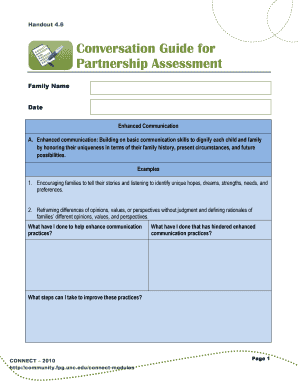 Conversation Guide for Partnership Assessment This handout is a conversation guide a teacher can use with a mentor to discuss and reflect on the extent to which partnership-oriented practices were implemented with a parent