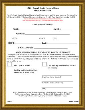 Fillable Online pigeon Junior Newsletter - Info Removed