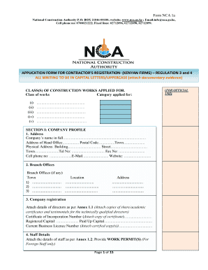 National Construction Authority Registration Forms Pdf
