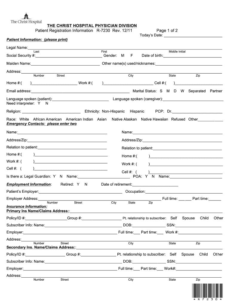 Fillable Online christ hospital registration form Fax Email Print ...
