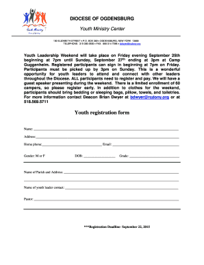 Youth registration form - Roman Catholic Diocese of Ogdensburg - rcdony