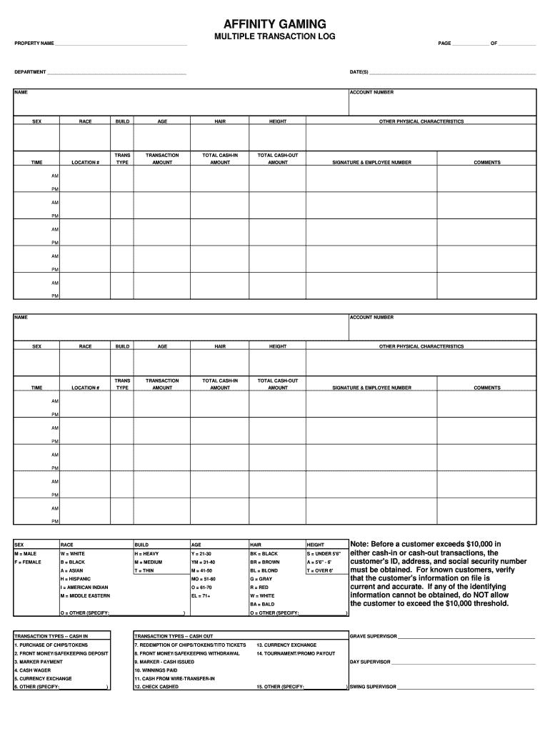 casino multiple transactio log