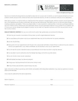 Narcotic contract with doctor edit fill print download narcotic contract raleighneurology narcotics are pronofoot35fo Image collections