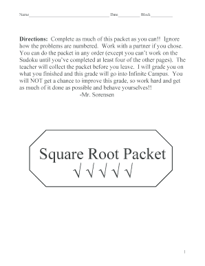 Square Root Packet - Hopkins High School - courseweb hopkinsschools