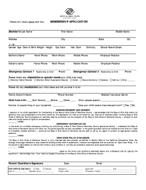 BOYS GIRLS CLUBS OF MONTEREY COUNTY MEMBERSHIP APPLICATION