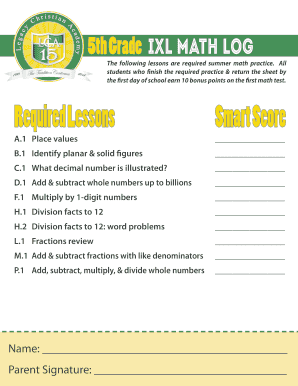 Fillable Online 5th Grade iXL math Log Fax Email Print