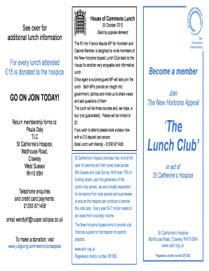 Lunch Club leaflet Sept 2011 - St Catherine's Hospice