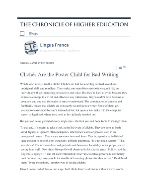 Clichs Are the Poster Child for Bad Writing Lingua Franca - Blogs - The Chronicle of Higher Education