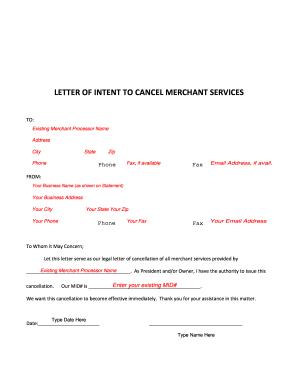 Fillable online letter of intent to cancel merchant services fax fill online altavistaventures Gallery