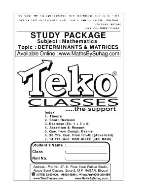 Fillable Online DETEMINANTS & MATRICES PART 1 of 6 - teko
