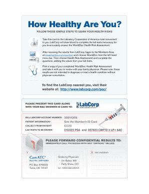 Get labcorp test request form to Fill Online in PDF | sample