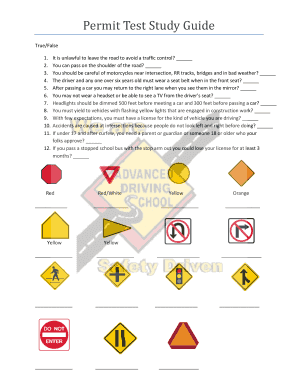 Permit Test Study Guide - Advanced Driving School - advanceddrivingschool