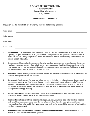 Consignment Contract Form   A Dance Of Light  Free Consignment Contract Template