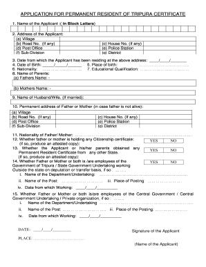 Permanent Resident Certificate Online Tripura Fill Online