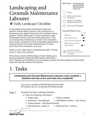 landscape maintenance checklist template - Fillable & Printable