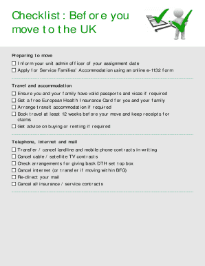 Checklist Before you move to the UK