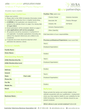 BAVBAb SCHOLARSHIP APPLICAtIOn FORm Certificate IV