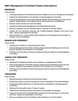 Fillable Online NSFC Management Committee Position Descriptions