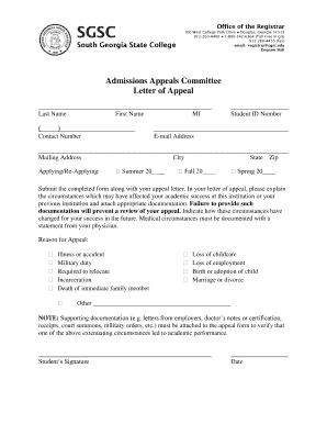 how to write an admissions appeal letter