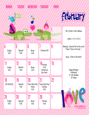 February 2013 Calendar Weekday TE - Hello Cuteness Printable Monthly Calendar - Weekday Text Editable