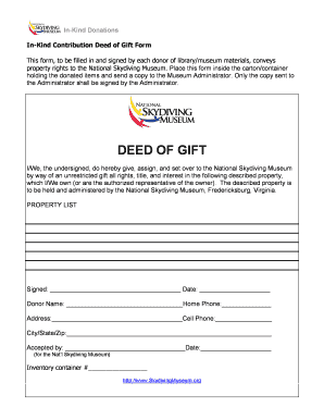Deed of gift form museum templates fillable printable for Deed of gift template australia