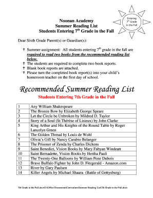 Fillable Online Noonanacademy Recommended Summer Reading List