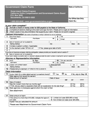 Fillable Online Government Claim Form State of California ...
