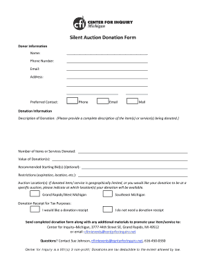 100+ [ Silent Auction Donation Form Template ]   Gala Salute To ...