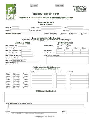 Redraw request form - P and P Services