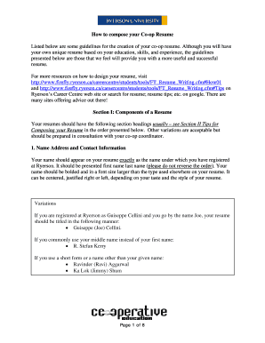 Fillable Online Applied Computer Science Co-op resume Template ...
