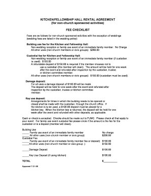 Get Rental Agreement For Church Fellowship Hall Form Samples