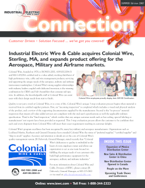 Fillable Online Connection - Industrial Electric Wire Cable Acquires ...