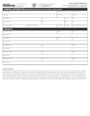 Fillable hardware and networking company profile format