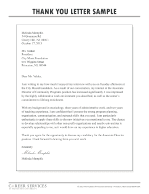 THANK YOU LETTER SAMPLE - Career Services - Princeton ...
