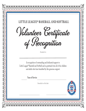 L i t tl e L e ag u e Volunteer Certificate of Recognition
