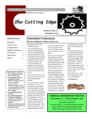 19982013 the Cutting Edge Volume 6, Issue 11 November 2015 PRESIDENTS MESSAGE Inside this issue: Membership 2 By Jerry Mallmann, Chilton Furniture Inc