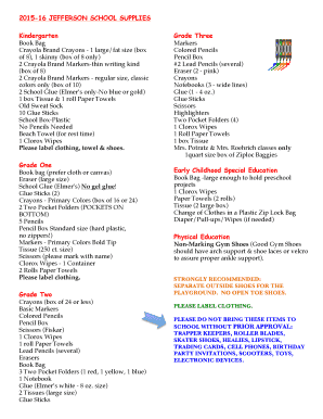 Fillable Online valley-city k12 nd Classroom Supply List