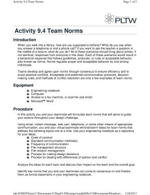 fillable online madisonschools activity 94 team norms rh pdffiller com Best Robotics Engineering Notebook Examples Staples Engineering Notebook