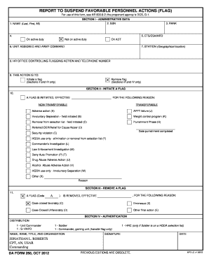 REPORT TO SUSPEND FAVORABLE PERSONNEL ACTIONS FLAG DA FORM 268 OCT 2012 - 6250usah