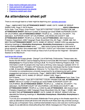 picture relating to Printable Aa Attendance Sheet identified as Aa battendanceb sheet pdf Fill On the web, Printable, Fillable