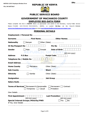 Biodata Form - Machakos Government-Official Website